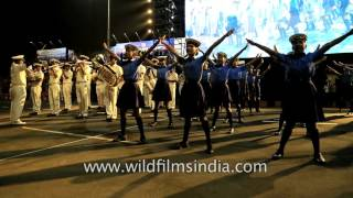 Indian Naval Band performs with school kids at International City Parade, Andhra Pradesh
