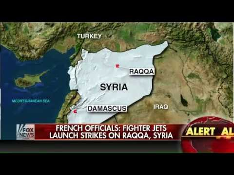 Officials  France launches airstrikes in Raqqa, Syria   FoxTV World News   YouTube