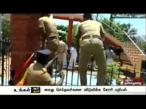 Members of Forward Bloc Party Locked Thevar Statue Gates in Madurai