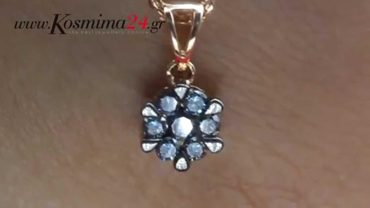 Ροζ χρυσό κολιέ 18Κ με διαμάντια - YouTube 239fefbddb2