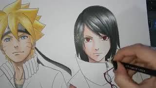 Speed Drawing  Uzumaki Boruto and Uchiha Sarada 'Shippuden' Version  - Desenhando Naruto Boruto