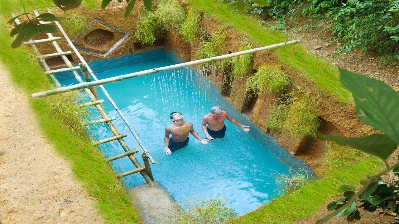 Build The Most Beautiful Swimming Pool Around Secret Underground House
