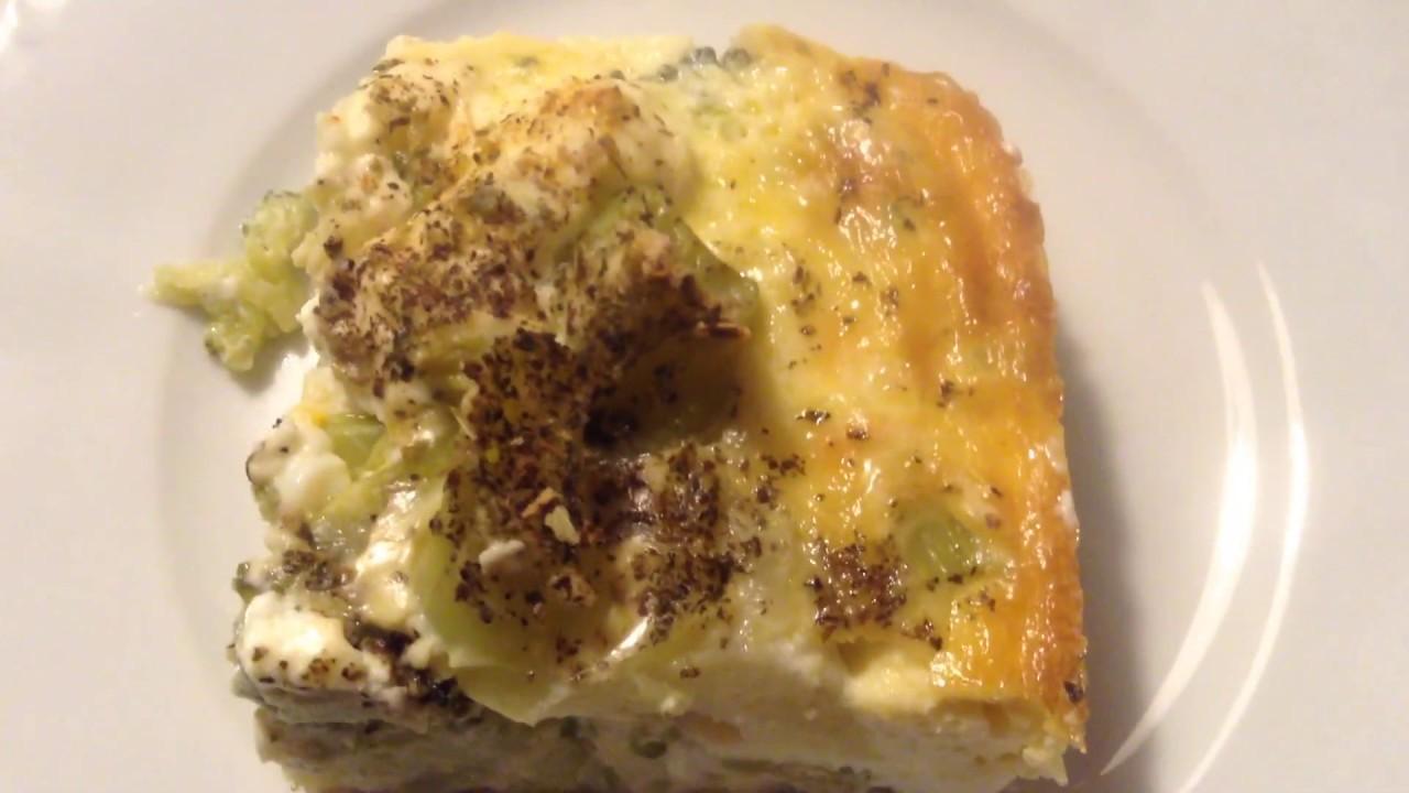 Receta de Souflé/Pastel de Brócoli preparación en 5 minutos