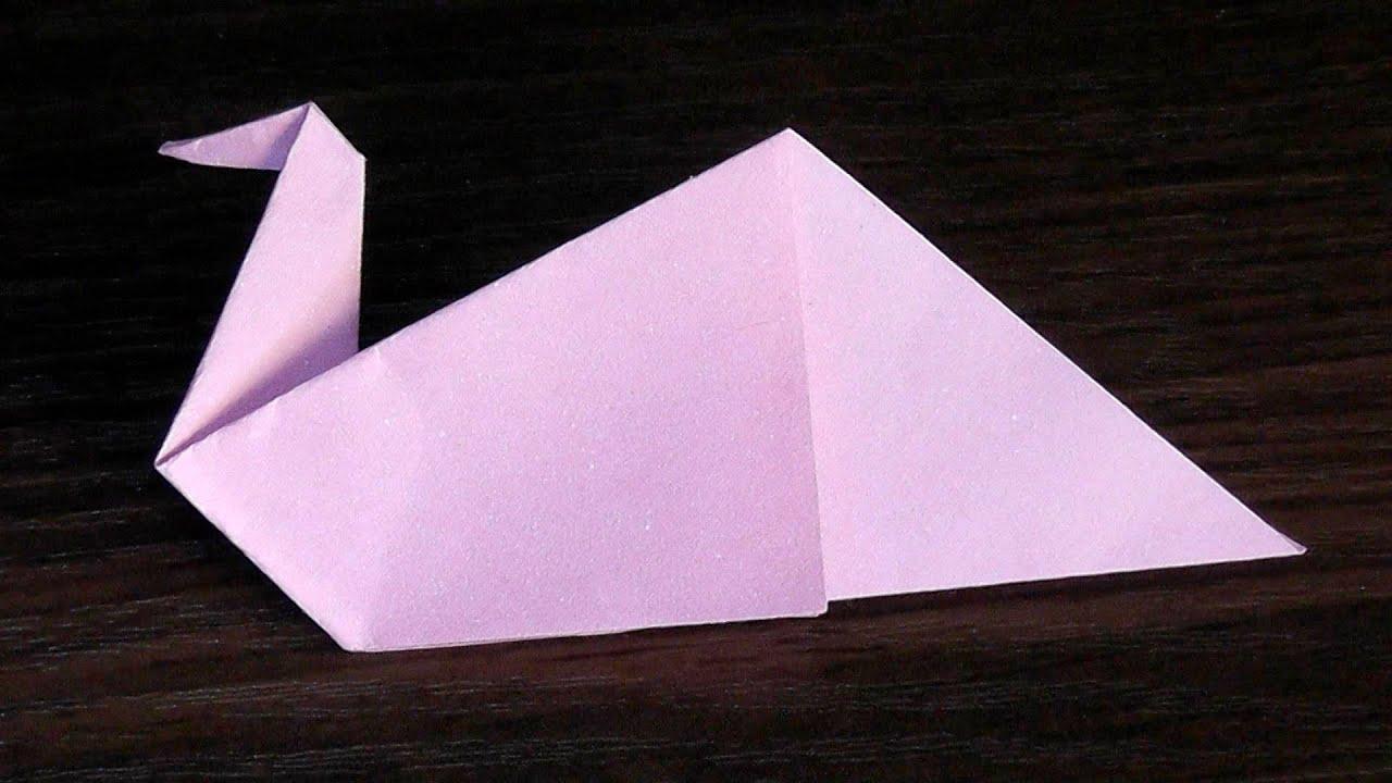 Оригами птица (лебедь) из бумаги (для начинающих) - YouTube