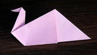 Оригами птица (лебедь) из бумаги (для начинающих)