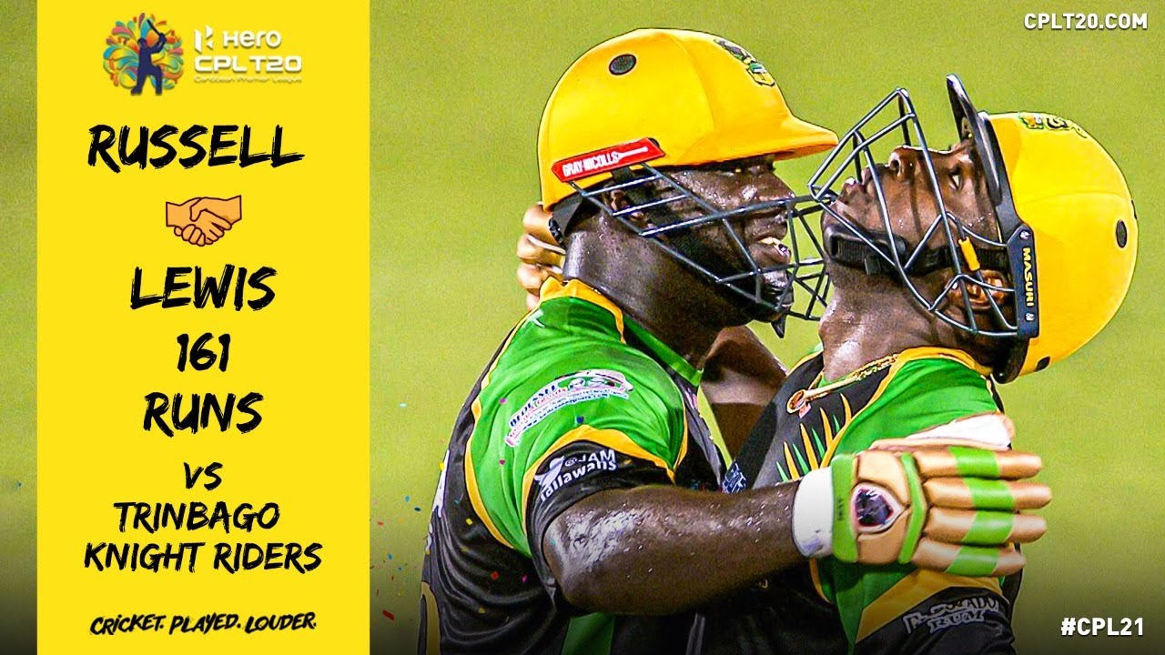 Andre Russell and Kennar Lewis BLAST the Knight Riders bowling attack for 161 runs!