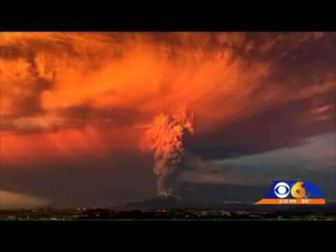 Lightning storm happens inside volcano during eruption