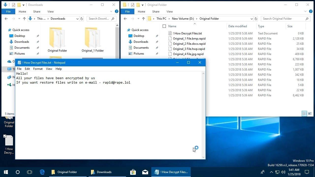 Rapid Ransomware ( rapid / ! How Decrypt Files txt) - Videos - CheckMAL