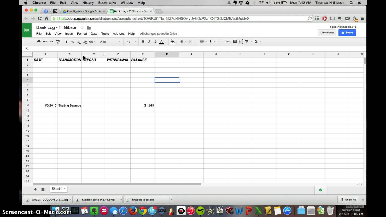 create a bank log ledger sheet in google sheets youtube