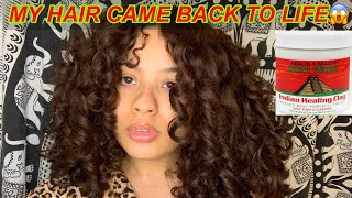 I USED THE AZTEC CLAY MASK ON MY CURLY HAIR   CLARIFYING CURLY HAIR