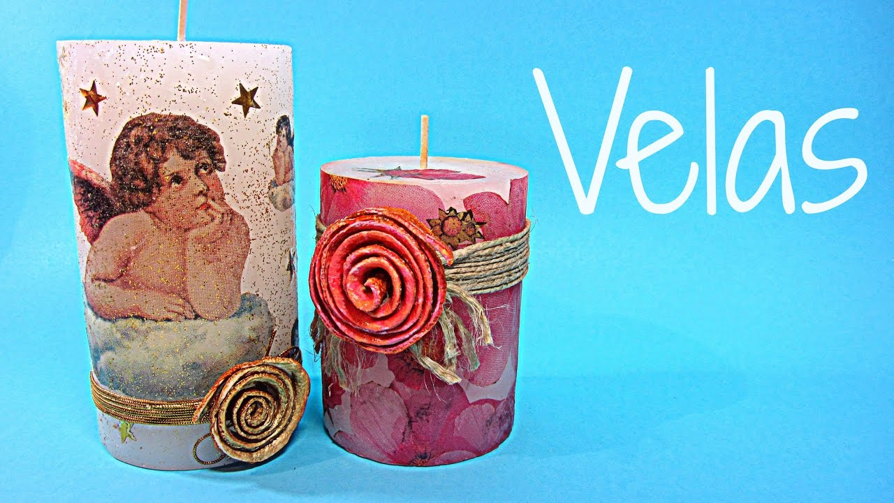 Como decorar velas con papel candles decorated youtube - Decorar velas para navidad ...