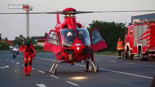 Notarzthubschrauber nach schwerem Verkehrsunfall in Marchtrenk im Einsatz