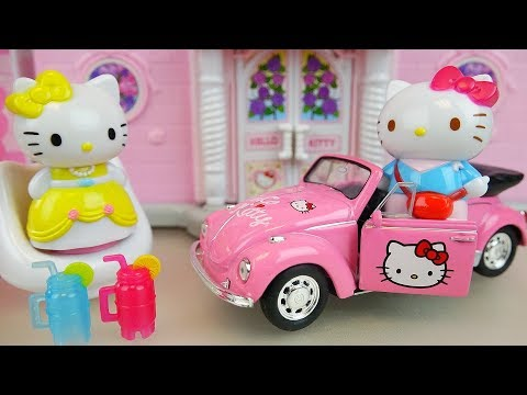Thumbnail: Hello kitty house and car toys with baby doll play