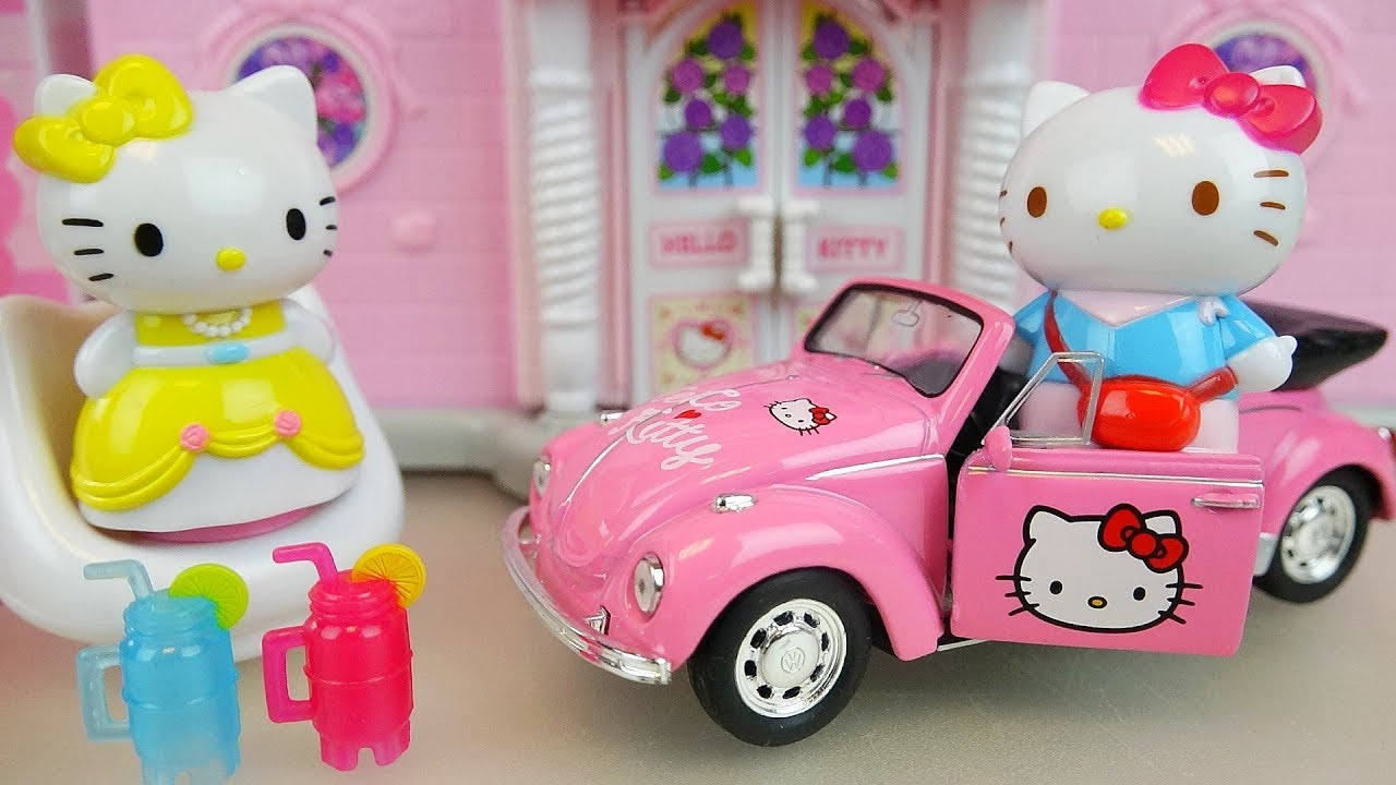 341177ae5 Hello kitty house and car toys with baby doll play - YouTube