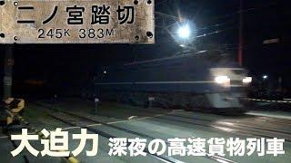 【貨物列車】素晴らしいジョイント音を響かせ走る高速貨物列車 真冬の寒さを切り裂く大迫力