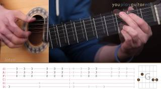 Как играть на гитаре The Beatles Yesterday Guitar tutorial