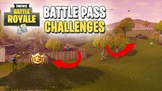 Fortnite | Battle Pass Challenges | Week #2 | Search Between a Scarecrow, Pink Hotrod & Big Screen!