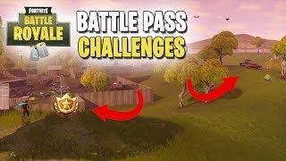 Fortnite - France Battle Pass Challenges ( #2 de la semaine Recherche entre un épouvantail, Hotrod rose - Grand Écran!