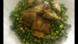 Артишоки с зелёным горошком.Итальянская кухня.