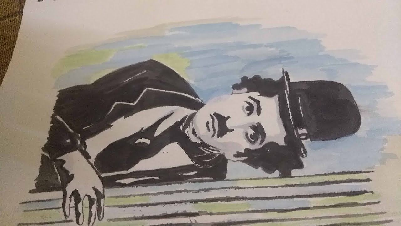 Charlie Chaplin Water Colour Painting Easy Drawing Ideas Youtube