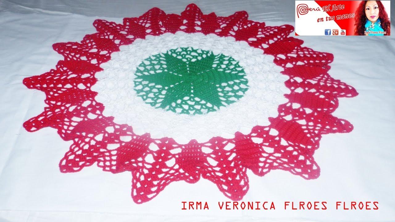 Centro de mesa tapete navide o tejidos a crochet paso a - Centro navideno de mesa ...