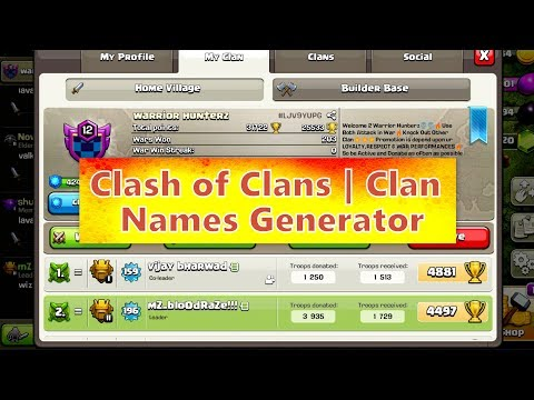 CLASH OF CLANS | CLAN NAMES GENERATOR | NAME CHANGES OPTION AVAILABLE IN TOWN HALL 12 🔥