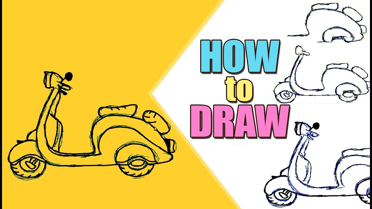 Teaching Children to Draw :How To Draw a Scooter - YouTube