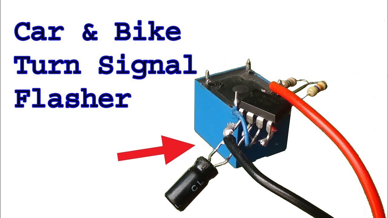 how to make car and motorbike flasher turn signal use ne555 timer ic p4 [ 1280 x 720 Pixel ]