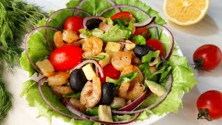 """Легкий и полезный салат """"Вдохновение"""" с креветками, авокадо и помидорами черри на Новый год 2020!"""