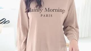 심플 모닝 프린팅 기본 라운드 여자 긴팔 티셔츠