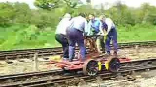 Pump Trolley in action at the East Anglian Railway Museum