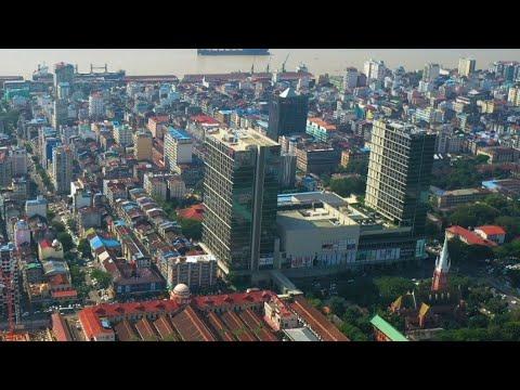 Flight over Yangon city November 2019. Yangon drone video