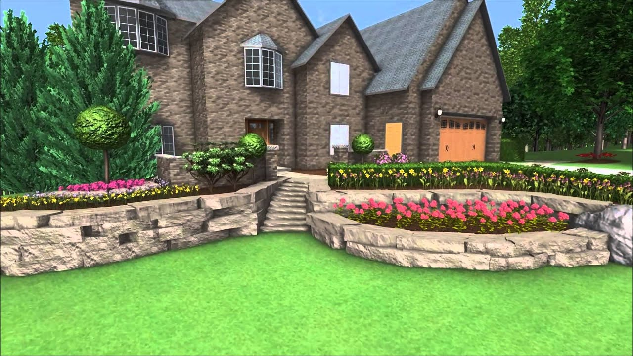 Landscape Design 3D Walkthrough   Front Yard Landscaping   Canyon Stone  Wall   Fairy Garden   YouTube