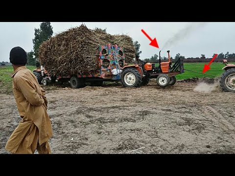 Funny  Fiat 480  Al Ghazi Tractor To Pull Out Loaled Trolley 2000Kg Sugarcane Field 2