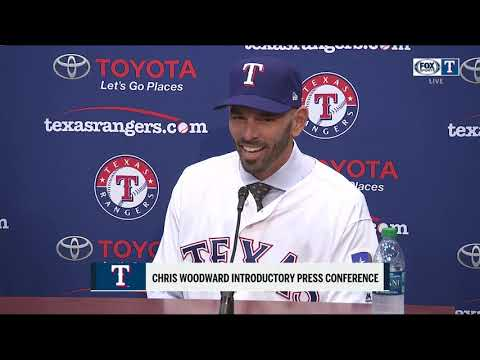 Chris Woodward answers questions after being introduced as Texas Rangers Manager