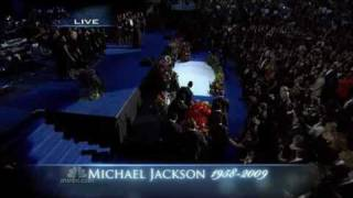 "A gospel choir sings "" Soon and Very Soon "" at the memorial service for Michael Jackson"