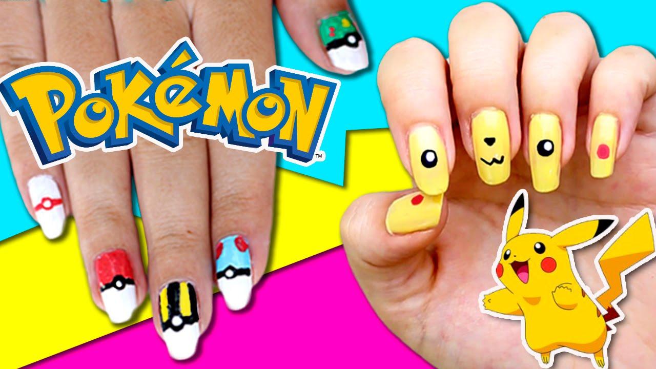 Diseños De Uñas Pokemon Go Pikachu Y Pokebolas Con Rotuladores