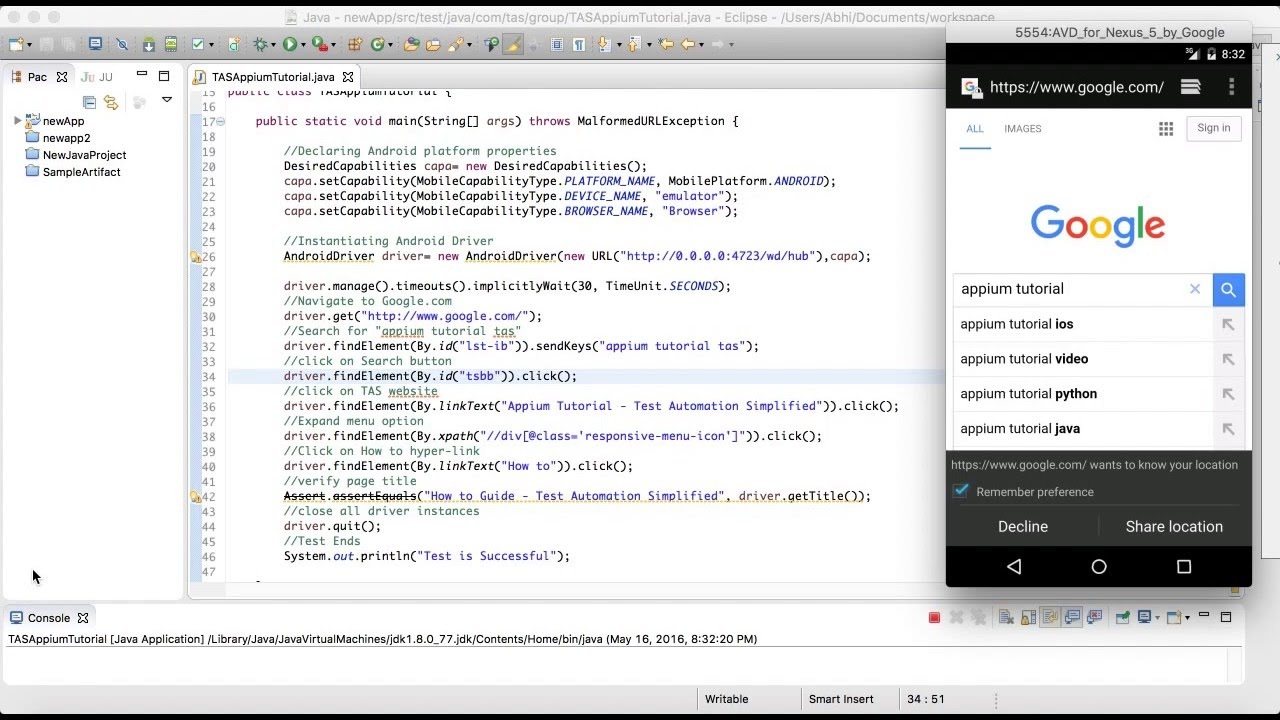 Android Browser Automation