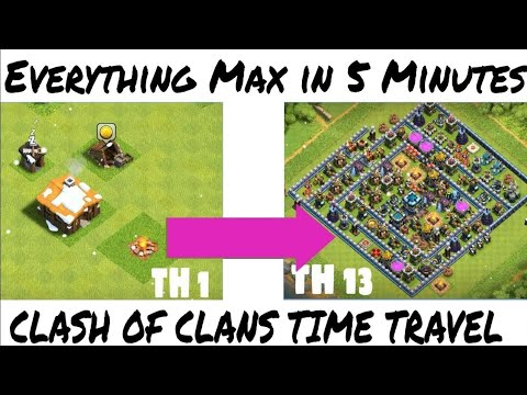 WHOLE VILLAGE Time Lapse Clash Of Clans In 5 Minutes  Everything Max In 5 Minutes   Clash Of Clans