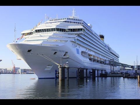 Costa Pacifica and Mein Schiff 4 at Kiel Port filmed with a drone