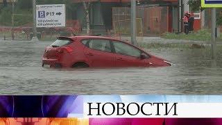 Смотреть видео В Москве в результате продолжительного дождя затопило дорогу к аэропорту Шереметьево. онлайн