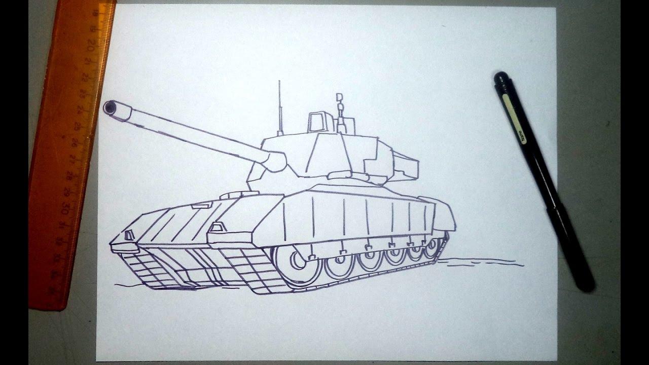 como dibujar un tanque de guerra t 14 ruso paso a paso