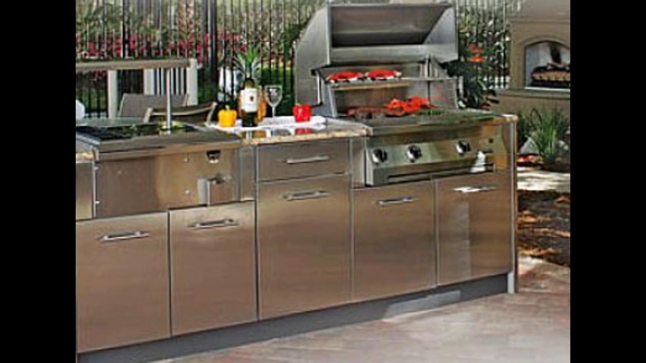 modern outdoor kitchen cabinets diy stainless steel polymer weatherproof youtube. Black Bedroom Furniture Sets. Home Design Ideas