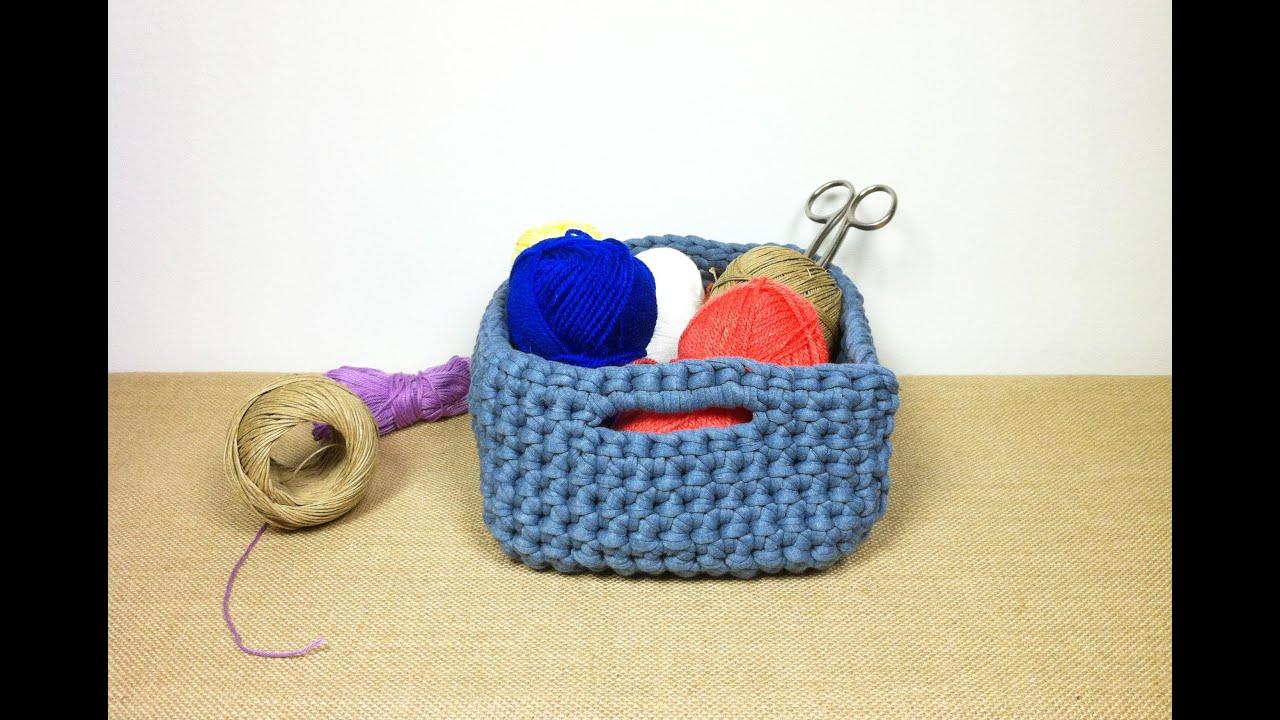 C mo hacer un cesto cuadrado de trapillo tutorial diy - Como hacer un puff de trapillo ...
