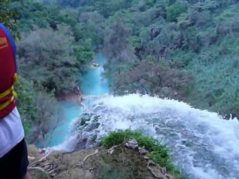 Amazing blue color on river and waterfall in San Luis Potosi Mexico