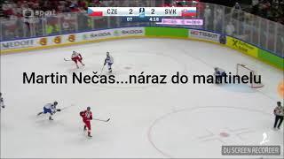 Martin Nečas  gets hit of barrier...IIHF 2018