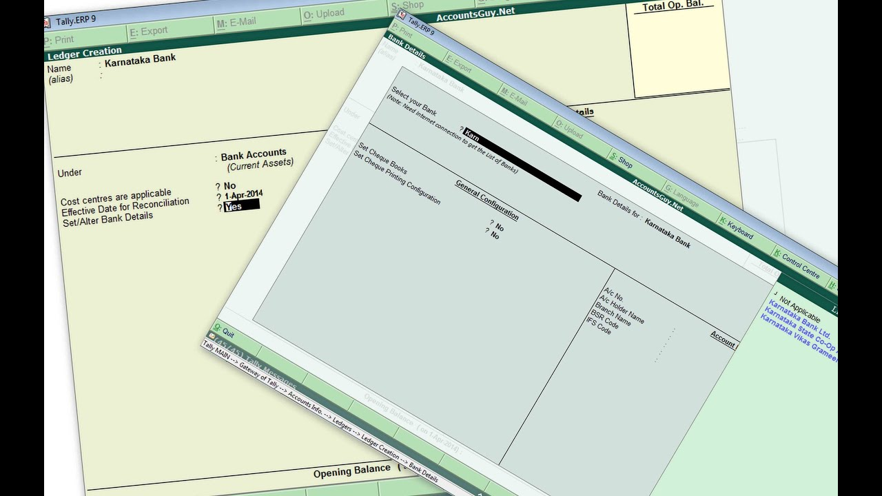 Create SB Current OD Checking Account Bank Ledger in Tally ERP 9