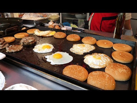korean fried egg cheese burger 3,500KRW / korean street food