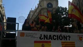 Himno de España 'techno' en la manifestación de Barcelona por el Día de la Constitución