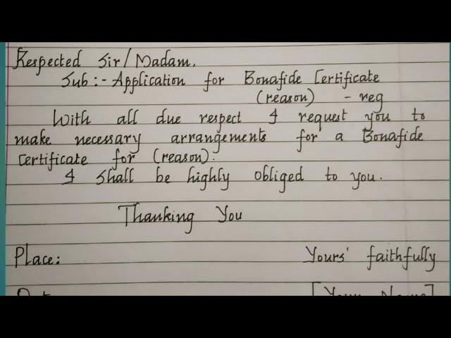 Bonafide Certificate Requisition Letter